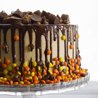 Chocolate and Peanut Butter Drip Cake.