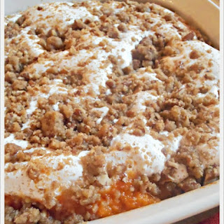 Sweet Potato Casserole with Marshmallow & Pecan-Streusel
