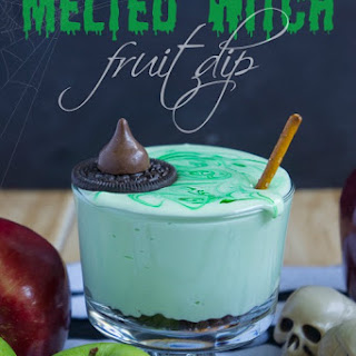 Melted Witch (chocolate chip cream cheese) Fruit Dip.
