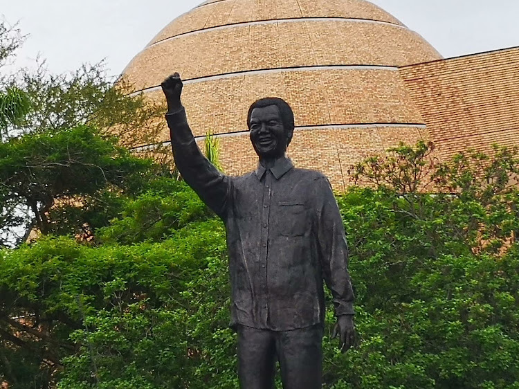 Nehawu members marched to government offices in Mbombela on Friday in protest against the Nelson Mandela statue.