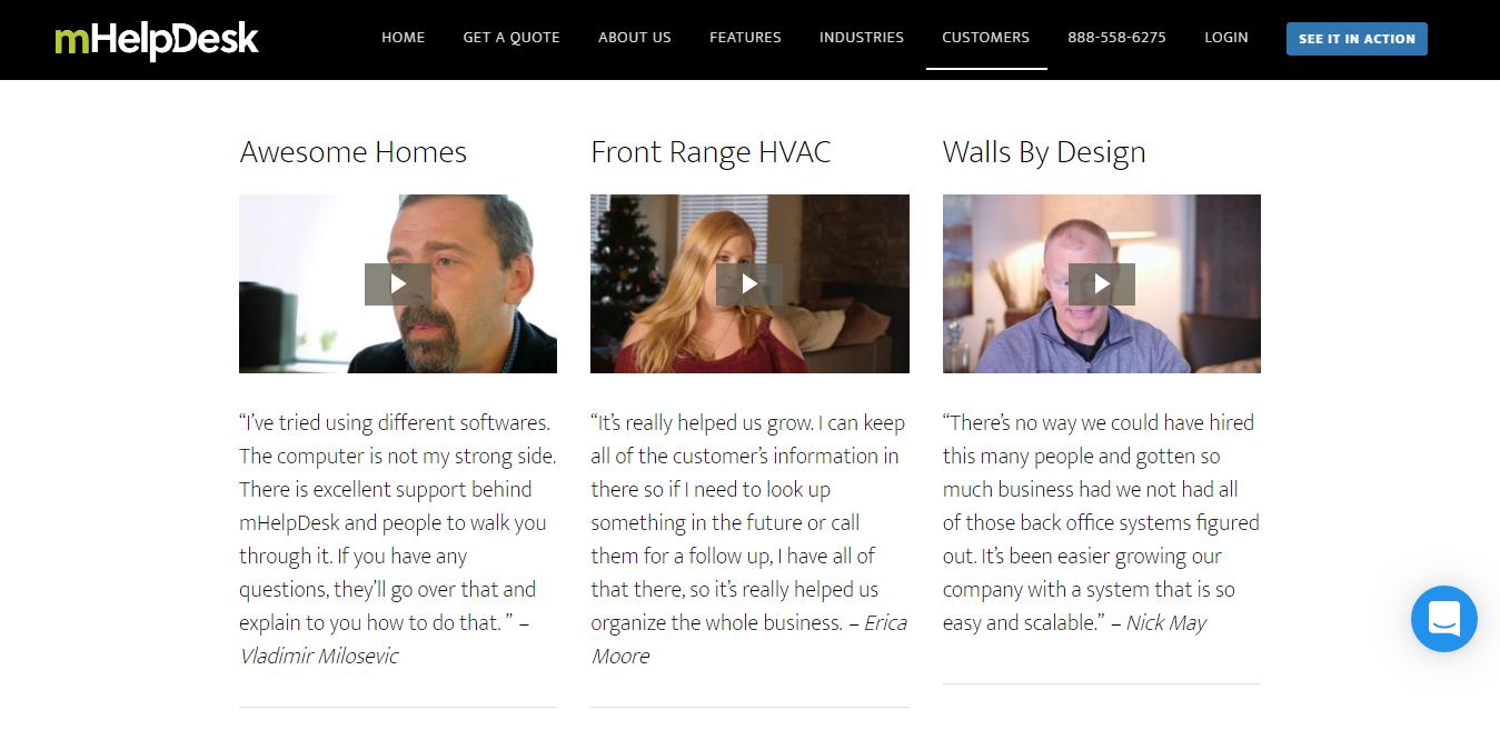 mHelpDesk uses responsive web design to put their best foot forward on B2B testimonials.