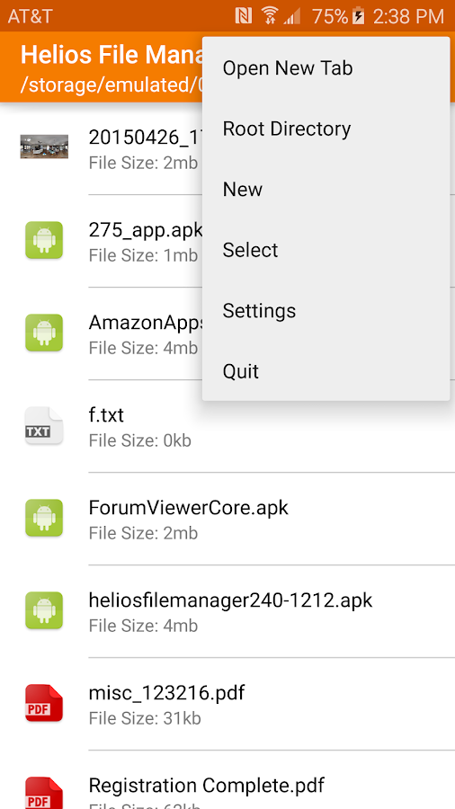 Helios File Manager- screenshot