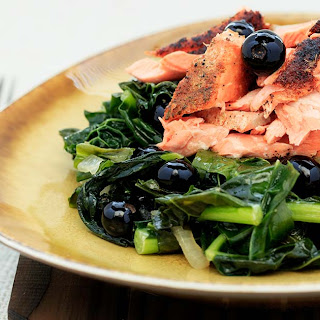 Coconut Kale with Sesame-Crusted Salmon.