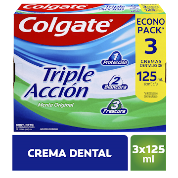 Crema Dental Colgate   Triple Acción Menta Caja x 3 Tubos x 125c/u