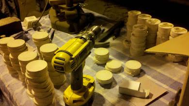 Photo: Attaching hooks before stamping BGC & Oleksak Lumber logos on each side...