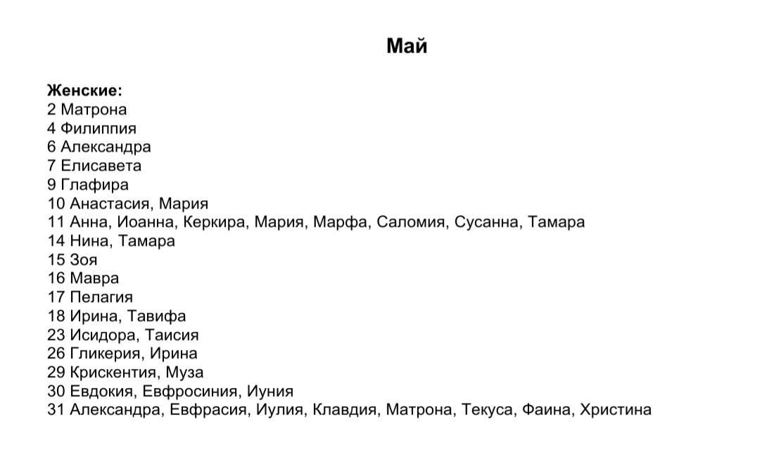 Список женских имен по святцам - май месяц
