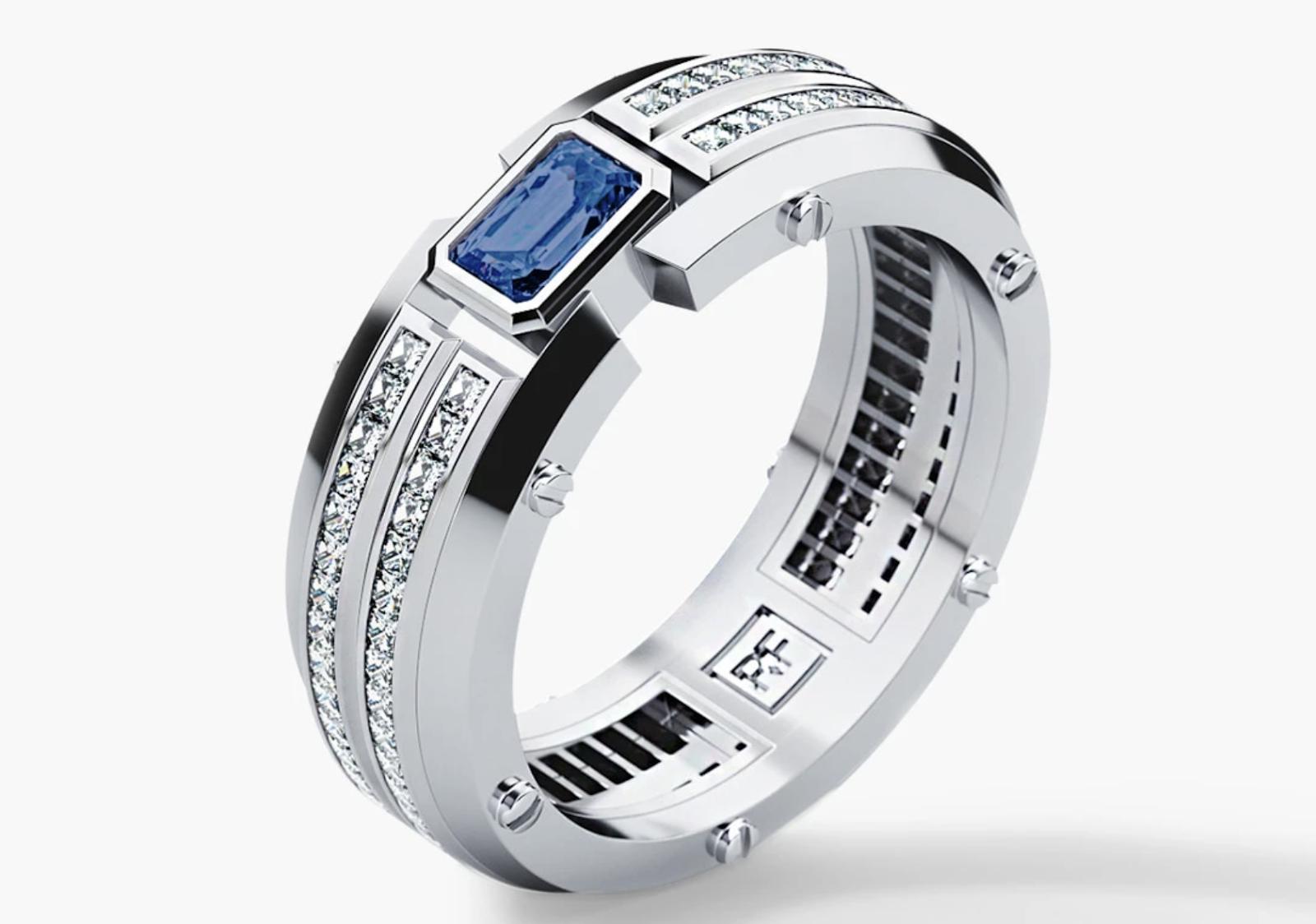 wedding band with sapphire and diamonds