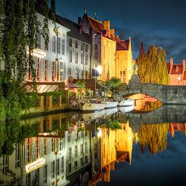 Bruges by Nick Moulds - City,  Street & Park  Historic Districts ( reflection, bruges, night, dusk, canal )