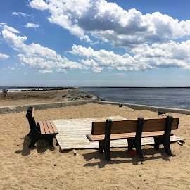 Benches at Salisbury by Kristine Nicholas - Novices Only Landscapes ( clouds, water, sand, bench, blue, sea, ocean, beach, atlantic,  )