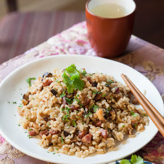 Pressure Cooker Chinese Sausage and Brown Rice.