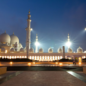 Grand Mosque - Abu Dhabi by Sebastian Tontsch - Buildings & Architecture Public & Historical ( lights, mosque, night, abu dhabi, historical )