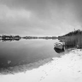 Don River by Dmitriy Yanushevichus - Black & White Landscapes ( reflection, b&w, winter, don, black and white, boat, panorama, river,  )