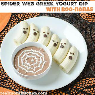 Easy Greek Yogurt Spider Web Dip with Boo-nanas
