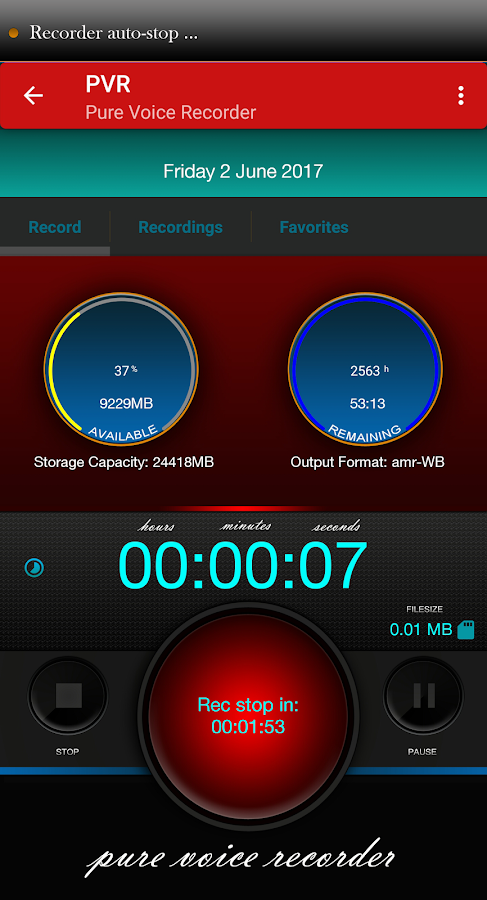 Pure Voice Recorder Light- screenshot