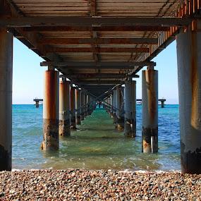 Symmetry  by Pixie Simona - Buildings & Architecture Bridges & Suspended Structures ( seascapes, pier, seascape, jetty, symmetry, deck, pillars,  )