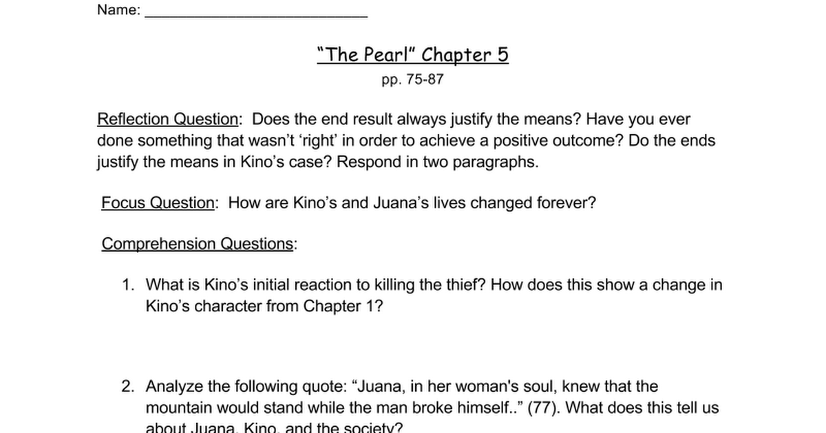 Worksheets For The Pearl : Copy of quot the pearl chapter worksheet google docs