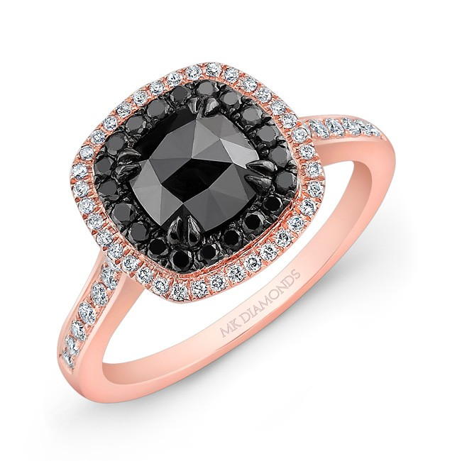 14k Rose and Black Gold Double Halo Rose-cut black Diamond Center Engagement Ring by MK Diamonds