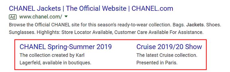 exemplo de extensões de sitelinks nos anúncios gerados pelo google adwords
