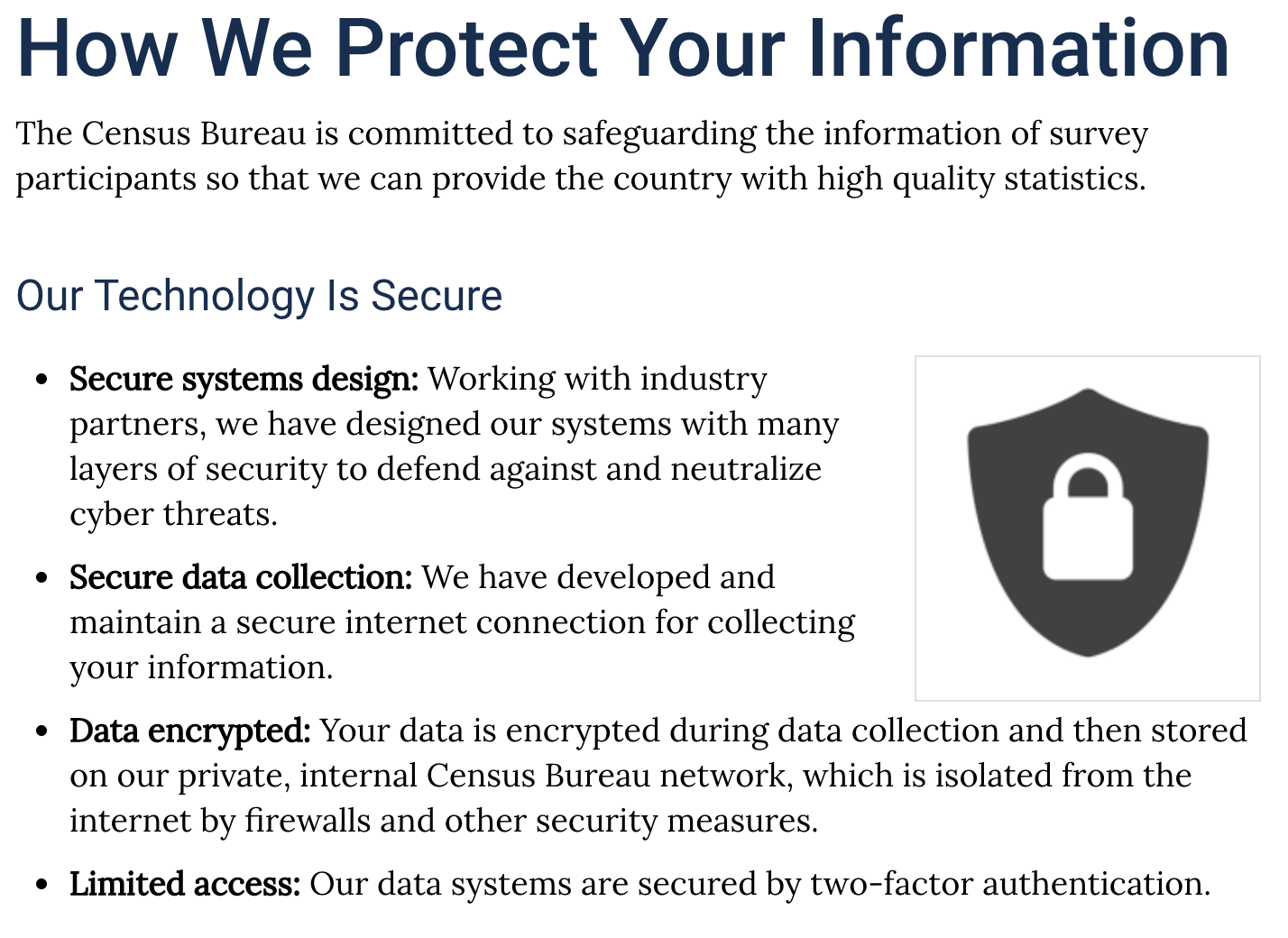 Screenshot of the Census page How We Protect Your Information.