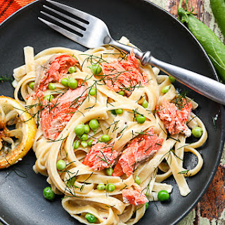Fettuccine Alfredo with Salmon & Summer Peas.