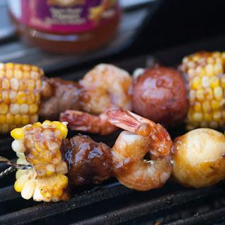Mango, Shrimp & Sausage Boil Skewers