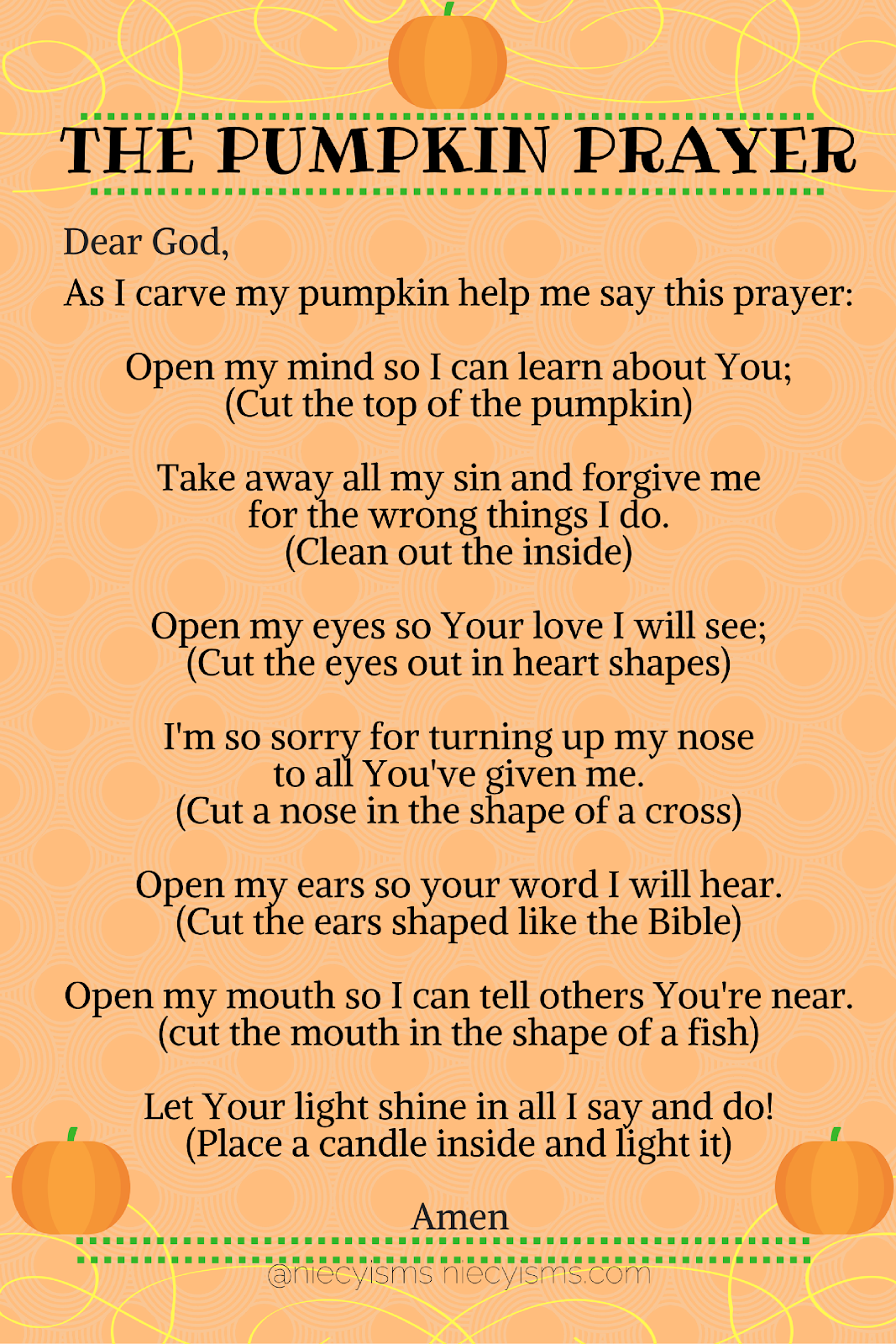 photograph about Pumpkin Prayer Printable identified as Shining Light-weight upon the Information of The Pumpkin Prayer