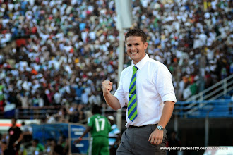 Photo: Leone Stars Coach Johnny McKinstry as the Leone Stars move into the lead for the second time (2:1) against Tunisia, June 2013 (Pic: Darren McKinstry)