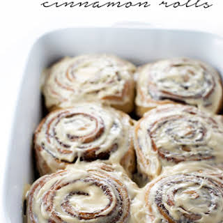Coffee Cinnamon Rolls with Coffee Cream Cheese Frosting.