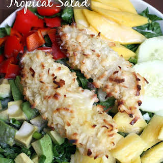 Coconut Chicken Tropical Salad with Creamy Pineapple Vinaigrette.