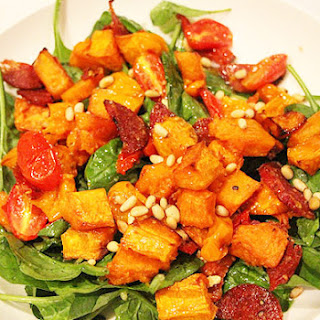 Liliana Battle's roasted pumpkin, tomato, salami and pine nut salad