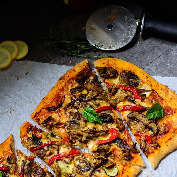 Jerk Mushroom Medley Pizza with Homemade Jerk Sauce  Recipe
