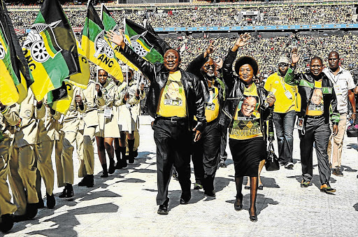JOSTLING FOR POWER: ANC deputy president Cyril Ramaphosa, left, with secretary-general Gwede Mantashe, chairman Baleka Mbete and treasurer-general Zweli Mkhize, who are all candidates to succeed him