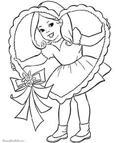 Pretty girl valentine coloring page