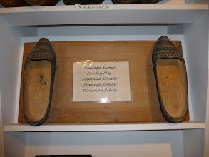 """Photo: Old wooden shoes on display -- """"Sunday clogs"""""""