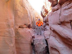 Photo: Ken above a downclimb