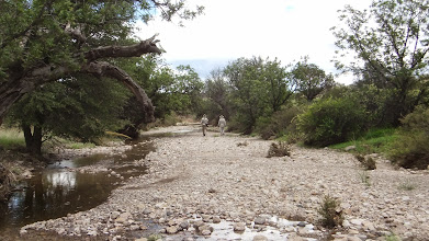 Photo: Alexy and Chris in riverbed in the Peloncillo (possibly Guadalupe) Mountains.