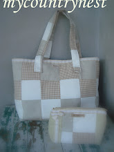 Photo: beach bag patchwork con pochette coordinata