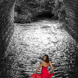 Red Dress in a Black Stream by Dave Skorupski - People Fashion ( dress, woman, selective color, girl, water, people, red, creek, stream, bw, red dress, model, female,  )