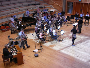 Photo: The Deptford Rivieras rehearsing with the Big Band, conducted by Ian Swatman, with singer Steph Richardson.