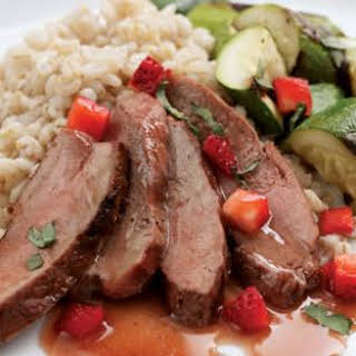 Grilled Duck with Strawberry-Fig Sauce.