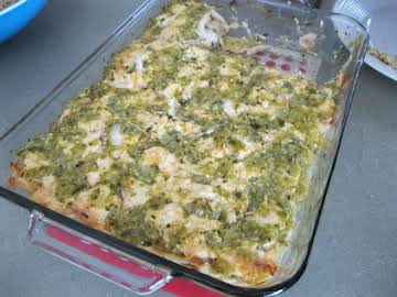 Tex-Mex Chicken Lasagna with Tomatillo Sauce