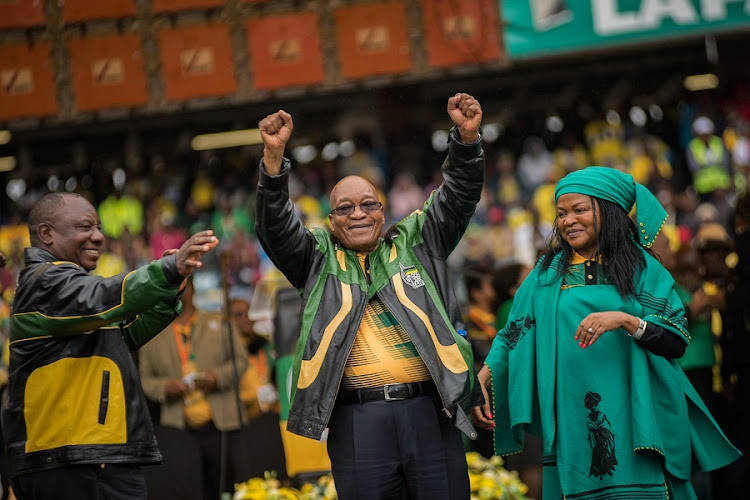 Deputy President Cyril Ramaphosa, President Jacob Zuma and National Assembly Speaker Baleka Mbete. Picture: DAYLIN PAUL