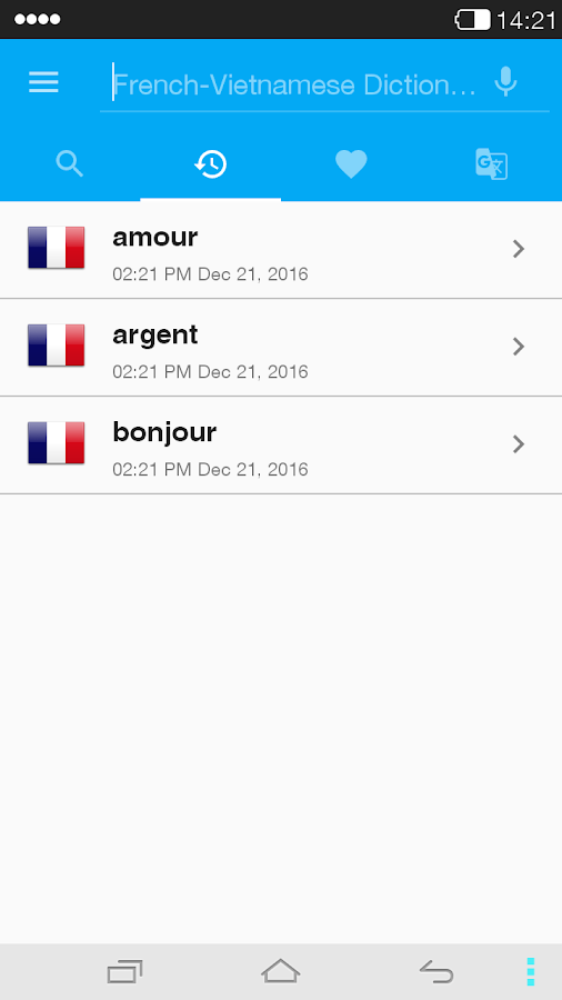 French<->Vietnamese Dictionary- screenshot