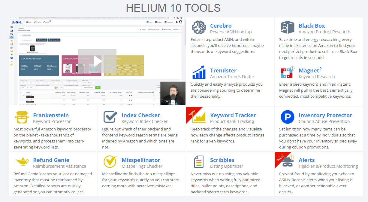Helium 10 Amazon Product Research Tools Dashboard View