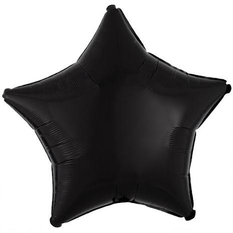 Folieballong, stjärna metallic svart 48 cm