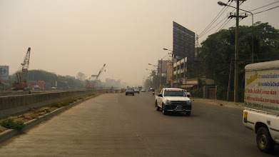 Photo: Traffic on the way, it's a bit smokey due to all the forest fires