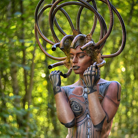 by Marco Bertamé - People Body Art/Tattoos ( body, model, lynn schockmel, green, woman, art, body art, lou d modèle, pipes, tubes, curves, body paint,  )