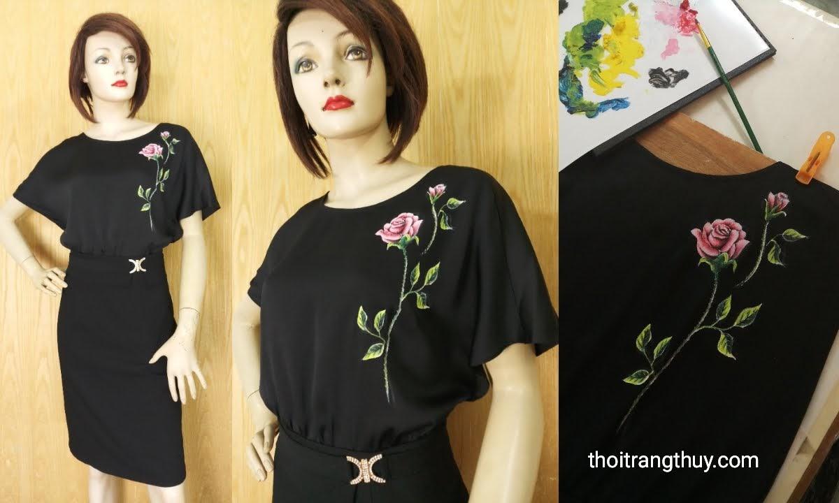 Váy liền cánh dơi họa tiết hoa hồng vẽ tay thủ công V624 Thời Trang Thủy
