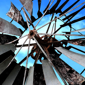 wind mill closeup by Jordan Toh - Artistic Objects Other Objects ( sky, blue, wind mill, close up, sweep )