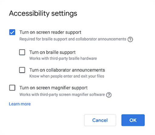 Use G Suite to make documents (and other tools) more accessible to people with disabilities